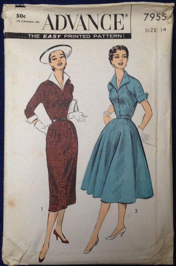 Vintage misses womens & dress sewing pattern Advance 7955 Sz 14 ...
