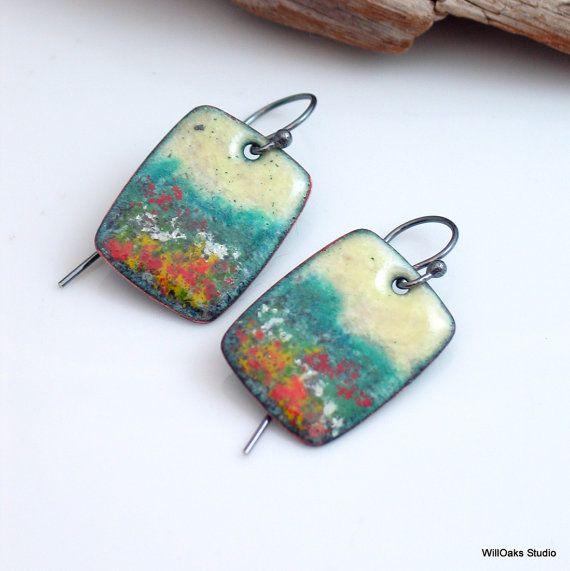 Vitreous Enamel Original Copper Earrings, Yellow Sky Rectangle Dangle, Nature Inspired, Ready to Ship, OOAK, Handmade Copper Enameling