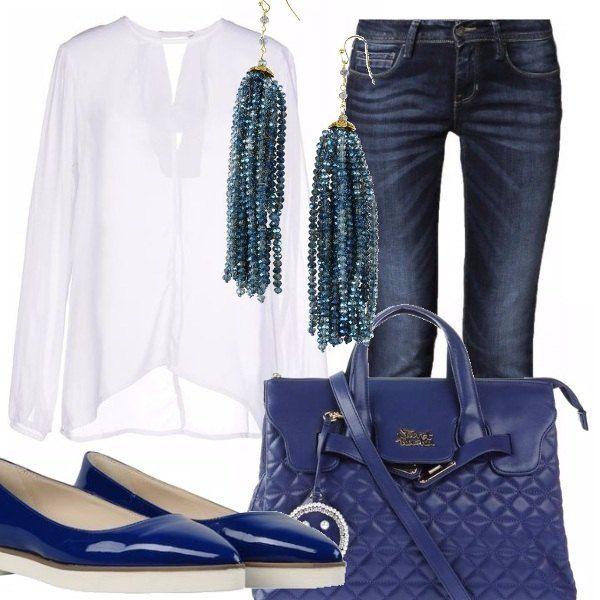 Se preferisci le bluse o le camicie ma la stagione è calda, ti consiglio di indossare dei capi chiari meglio bianchi, anche per andare al lavoro, jeans, una ballerina lucida in blu. Borsa capiente anche da portare a tracolla. Look semplice ma carino.