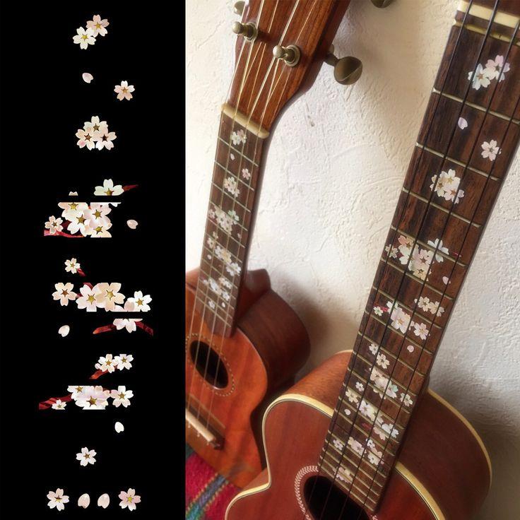 Ukulele Sakura (Cherry Blossoms) Fret Markers Inlay Stickers Decals