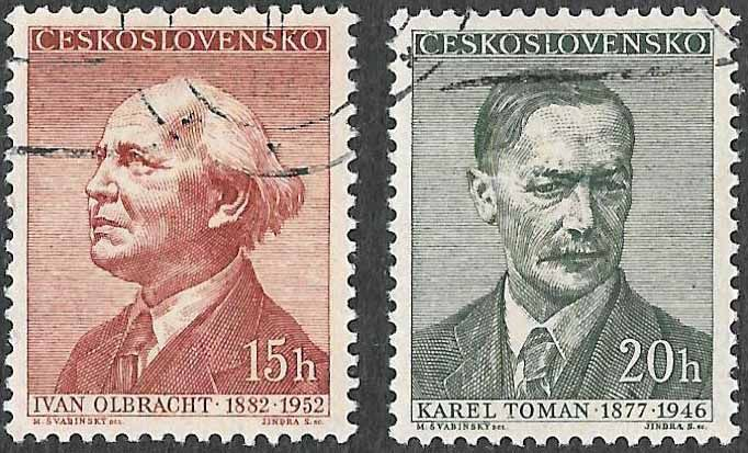 Scott #781 & #782 - Used - Czechoslovakian Writers #781 - 15h - Ivan Olbracht (1882-1952) - Czech writer, journalist and translator of German prose.  #782 - 20h - Karel Toman (1877-1946) - Czech poet, remembered for his epic love poems and Romantic inspirations. Issued Jan 18, 1957 Catalog Value $0.50
