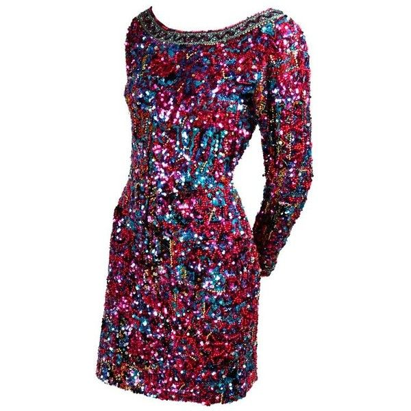 Preowned Silk Oleg Cassini Vintage Dress With Colorful Sequins &... ($695) ❤ liked on Polyvore featuring dresses, black, cocktail dresses, vintage 80s dress, multi coloured sequin dress, silk cocktail dress, sequin cocktail dresses and sparkle dresses