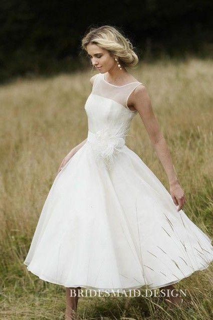 Beautiful Outdoor Tea Length Casual Wedding Dress Sleeveless Illusion Neckline