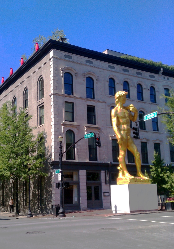 Statue of David was on loan for a few weeks in front of 21C Hotel / Museum downtown Louisville.  This hotel provided the best customer service I have ever received.  Proof on Main, a trendy upscale restaurant is also part of this cool establishment.  Photo by Justin Thomas