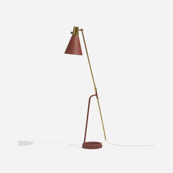 Lot 155: Hans Bergström. floor lamp, model 541. c. 1945, enameled steel, enameled and perforated aluminum, brass. 7 w x 14 d x 54 h in. estimate: $3,000–5,000.