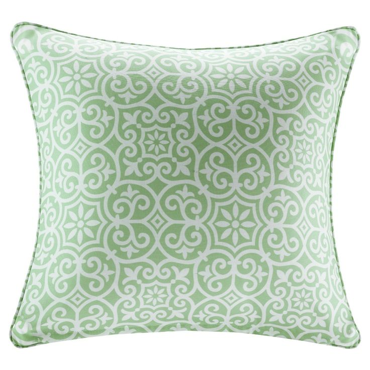Delmar Printed Fret 3M Scotchgard Outdoor Square Pillow, Green