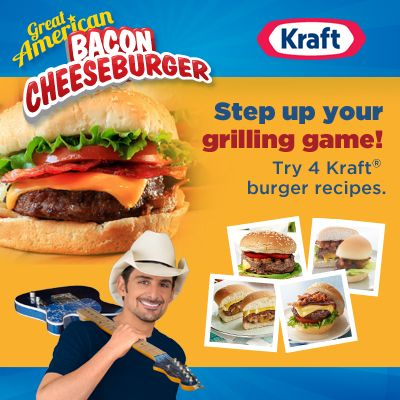 Kraft Great American Cheeseburger & Brad Paisley Sweepstakes! They are giving away Brad Paisley concert tickets to 400 fans, plus some amazing grand prizes! #KraftFoodsCheeseburger #BradPaisley #ad