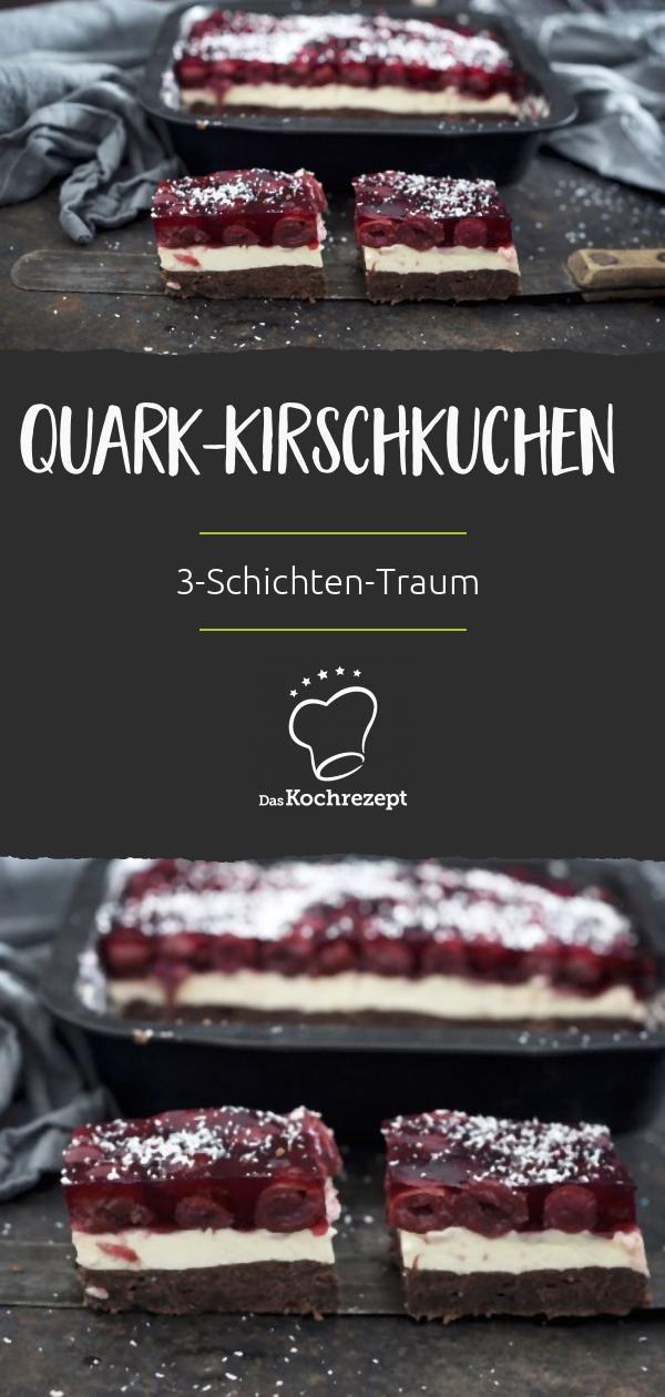 Wir geben es zu: Die beiden Kuchenstücke mit Quark und Kirschen (was …   – Blechkuchen Rezepte