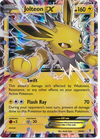 Jolteon EX 28/83 Pokemon TCG: Generations, Holo Pokemon Card