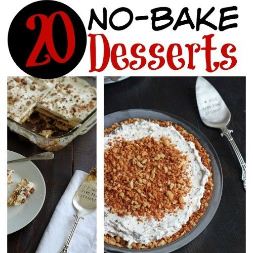 When the temps heat up, the last thing you want to do is heat up your kitchen. This summer you'll love these 20 No-Bake Dessert Recipes.  20 No-Bake Dessert Recipes http://goodcheapeats.com/2015/06/20-no-bake-dessert-recipes/