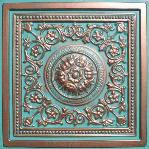 """Majesty Antique Copper Patina (24x24"""" $6.60-amazon).  Use these on furniture doors or side panels.  Can also be easily painted."""