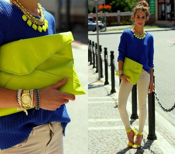 Xxl Neon Clutch, H Neon Sandals, Neon Necklace; Love the Neon with a neutral and primary
