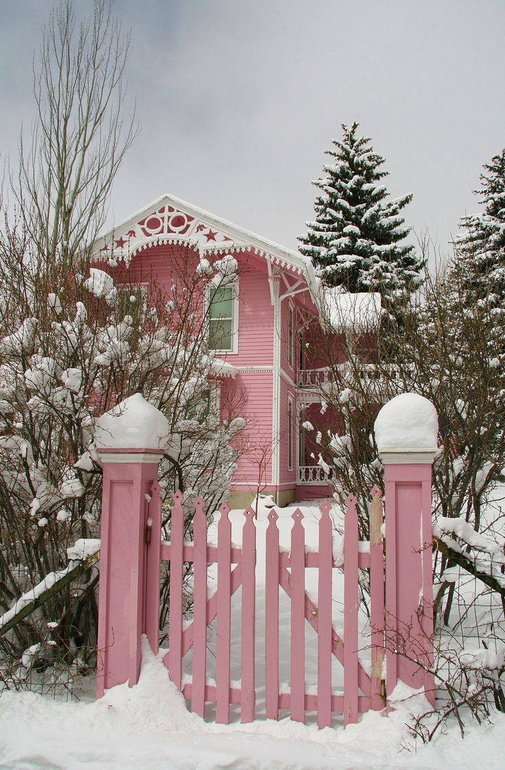 Pink home and gate