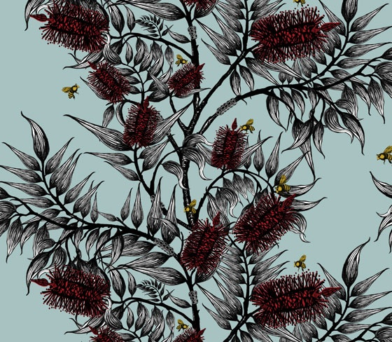 Bees in the Bottle Brush wallpaper  Funky Wombat Textiles