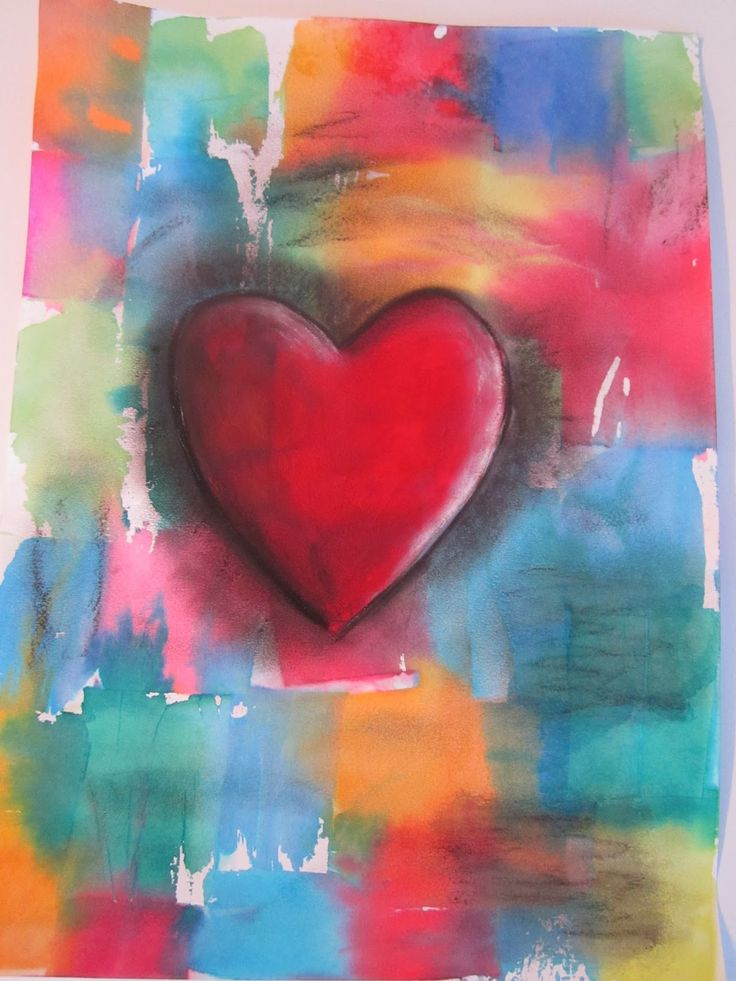Do Art!: Jim Dine Valentine's Day project bleeding tissue with paint/pastel