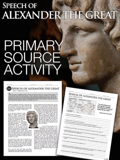 Alexander the Great Primary Source Worksheet teaches about students the motivation behind the man, through map skills and primary source document analysis. This short activity focuses on Alexander's speech before his last battle of India before turning back. This can be used in class or as homework as it's a completely stand alone assignment. Save some money by getting this with the entire unit including PowerPoints, worksheets, lesson plans and assessment. Go to Ancient Greece Unit…