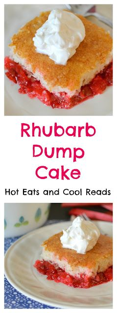 A gorgeous spring time dessert with tons of rhubarb and a hint of strawberry! So easy to make and everyone loves it! Rhubarb Dump Cake Recipe from Hot Eats and Cool Reads