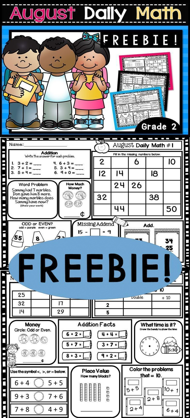 August Daily Math FREEBIE! Daily worksheets for beginning 2nd grade.  Can be used for morning work, early finishers, centers, homework, or independent work.