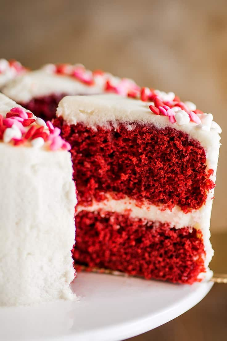 Super Cute Soft And Moist Small Red Velvet Cake With Cream Cheese Frosting Or Traditional Ermine Frosting Cake Red Velvet Cake Recipe Chocolate Sheet Cake