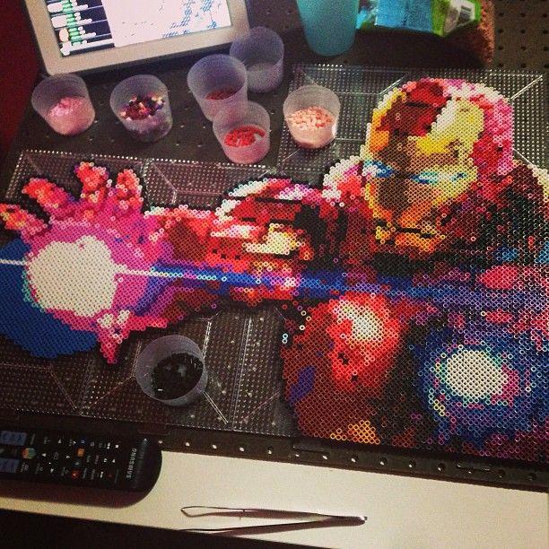 Iron Man perler bead sprite by bgkayz