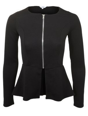 Black Peplum Zip Jacket