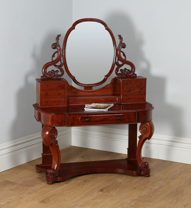 Antique English Figured Mahogany Victorian Duchess Dressing Makeup Table With Mirror (circa 1870) | 430620 | Sellingantiques.co.uk