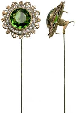 Fascinating article on Victorian and Edwardian hatpins -- this one has a hook so you can hang the hat from a theater chair.
