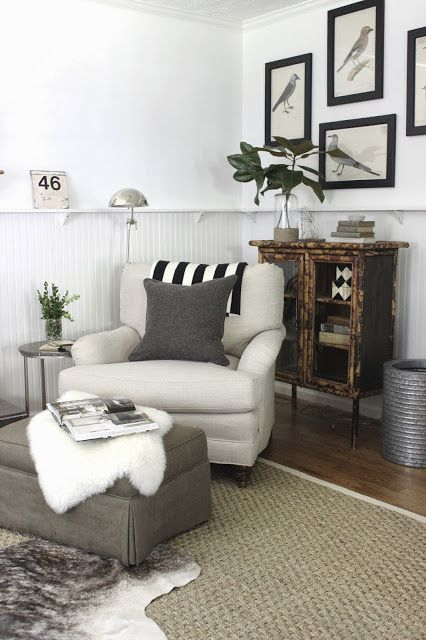 Neutral living room - sisal rug with layered cowhide - wood tones with bright white walls -  design indulgence: ONE ROOM CHALLENGE...FINAL REVEAL