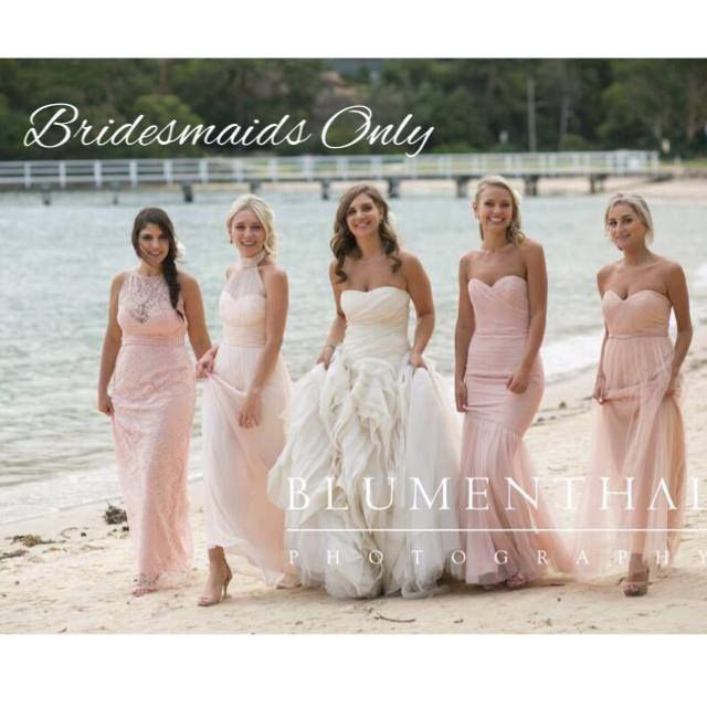 Melyne's bridesmaids in our Poppy, Petra, Yvette and Belle gowns - Available at Bridesmaids Only xx