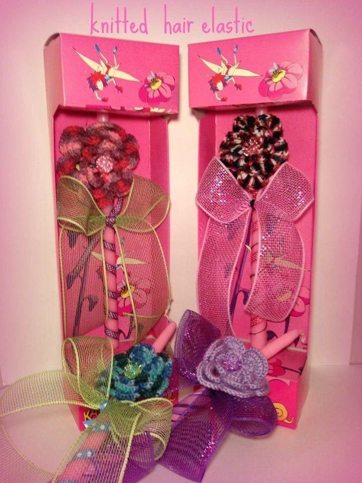 Crochet Hair Elastic Flowers Easter Candle, $21.34 at the Greek Wedding Shop ~ http://www.greekweddingshop.com/