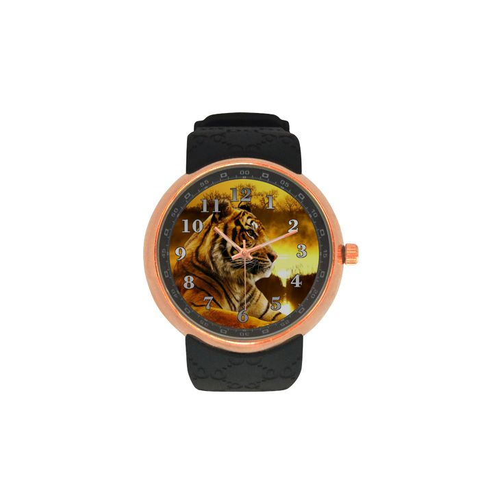 Tiger and Sunset Men's Rose Gold Resin Strap Watch. FREE Shipping. #artsadd #watches #tigers