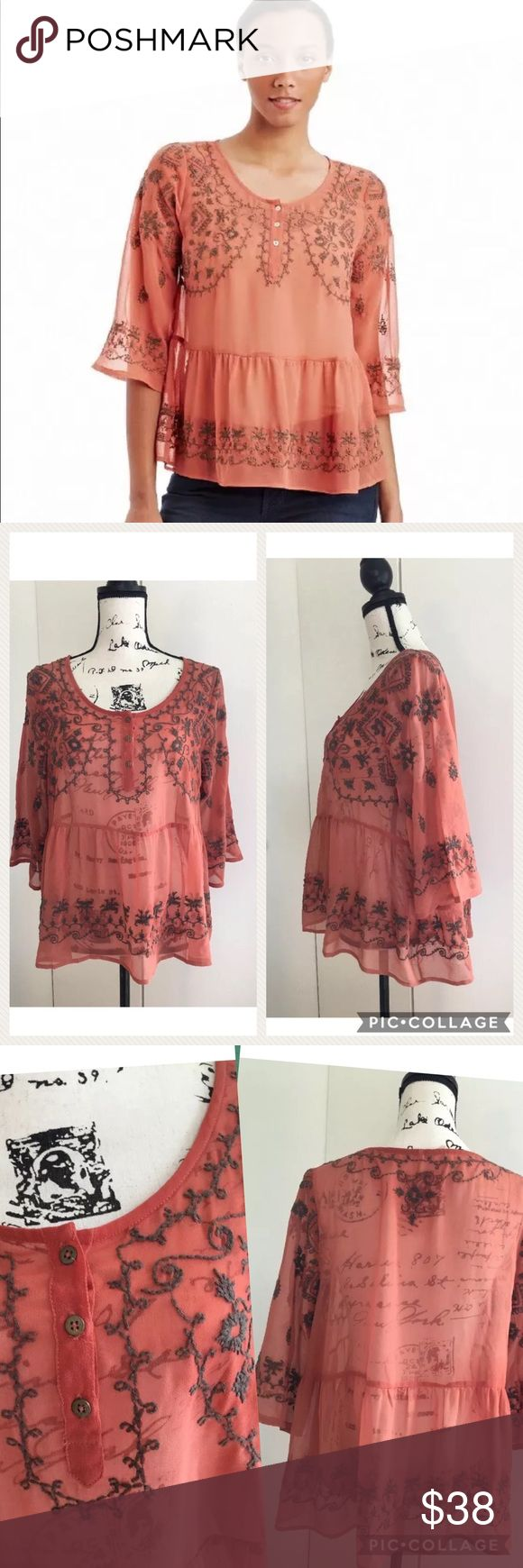 """Free People Sheer Embroidered Top Blouse Rust Free People breathes fresh life into your wardrobe with this sheer flowing top. An easy-to-layer piece, the embroidered details create instant colour and textural interest when worn over a tank or camisole.  Round neckline Three-button placket Elbow-length sleeves Ruched flare waist Sheer fabric 100% polyester Hand wash Imported Measurements flat lay: bust 44, length 24"""", sleeve length 16"""". Free People Tops Blouses"""