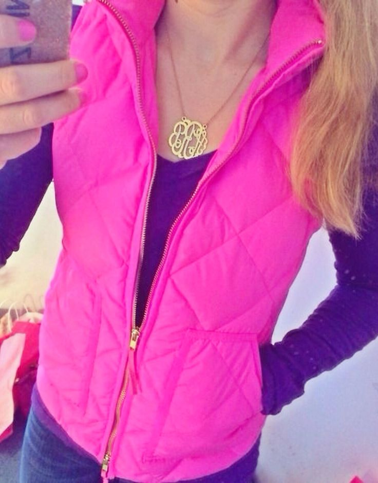 Monogrammed necklace but also love the vest...