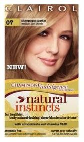Clairol Natural Instincts Champagne Indulgence Collection 07 Medium Cool Blonde. Clairol Natural Instincts Non Permanent Hair color, 7 Medium Cool Blonde for healthier, truly natural-looking color and shine. It is Natural Instincts gives you 6 weekly treatments of our nourishing Once a Week Color Treat conditioner for shiny, soft hair. It Health and Beauty-Boosting Antioxidants and Vitamins C and E.