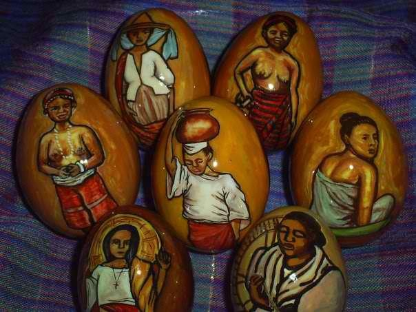 Hand-painted eggs by my friend Elizabeth Alejo-Aytin featuring Filipiniana themes.