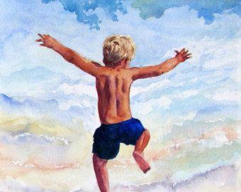 Beach Boy Art Print, Decor van de kwekerij, strand Decor, Beach House Art, kunst aan de muur strand, Beach Print