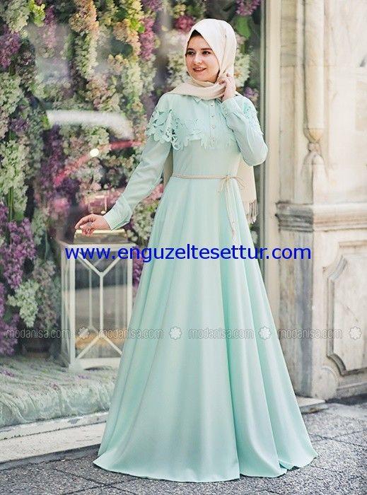 mint yesili tesettur abiye elbise modelleri 2016 004