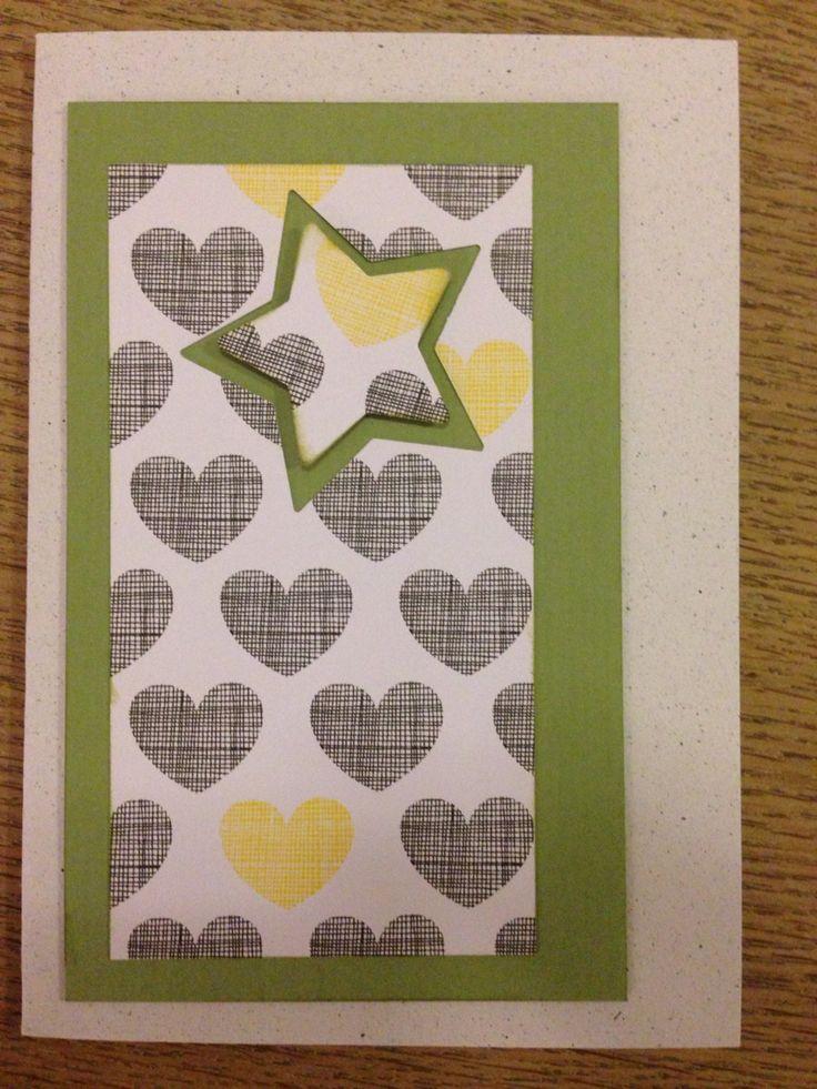 Hjerter og stjerne , håndlavet kort / handmade card