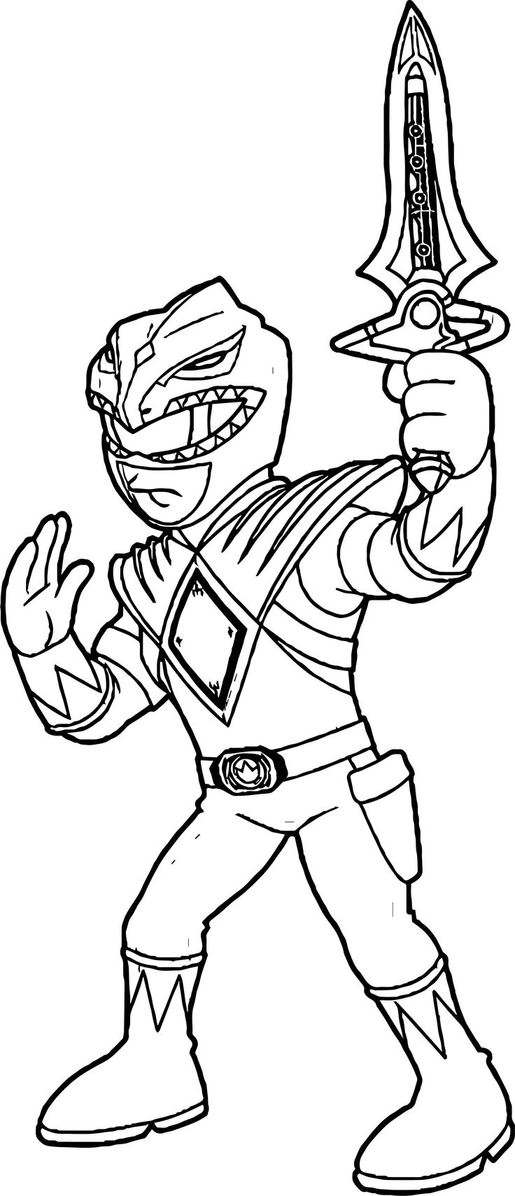 awesome Power Rangers Green Ranger Coloring Page Power