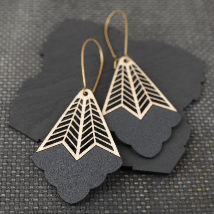 Large yet incredibly lightweight, eco-friendly Birch earrings featuring intricate chevron pattern.Materials: Sustainably harvested Birch cut using green power, Raw Brass (Lead and Nickel free)...