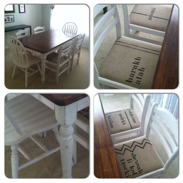 """More pics of my newly re-finished farmhouse table.  I stenciled a Hebrew blessing on the cushions...""""barukh atah Adonai eloheinu melekh ha'olam she'asah li kol tzorki"""" meaning """"Blessed are you, Lord our God, King of the universe who provides for me all my needs. ❤️"""
