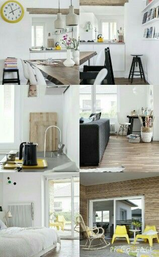 sleek, modern decor with lots of wood in a simple black and white base with fresh color accents