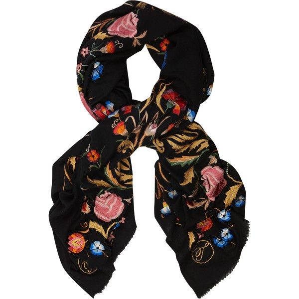 Temperley London Toledo Embroidered Scarf ($725) ❤ liked on Polyvore featuring accessories, scarves, black mix, black shawl, embroidered scarves, black scarves, wool shawl and temperley london