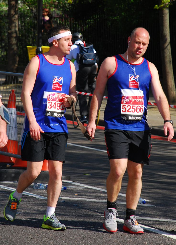 Congratulations to blind veteran Joe Cousineau and his sighted guide for their fantastic efforts in the London Marathon! Support every step of the way #LondonMarathon Image credited to Ian Dunn Design