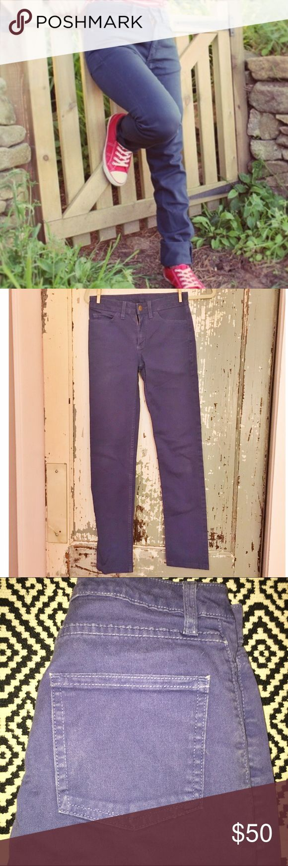 """American Apparel The Slim Slack Lite in BlueViolet Color is hard to capture-- a beautiful, subtle blue with a hint of violet. Mid-weight denim (2% spandex) is soft, comfortable, and breathable.Featuring a mid-rise (8"""") and a straight, slim-fitting leg (29"""" inseam). Leg opening 6"""" at ankle. American Apparel Jeans Straight Leg"""