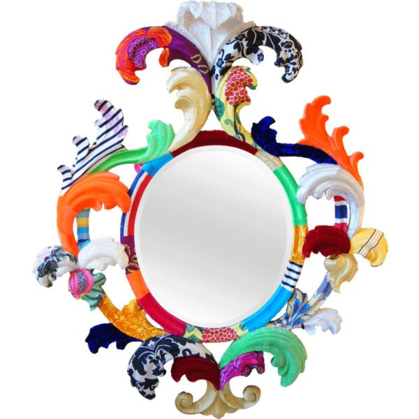 The Multicoloured Carved Oval Leaf Mirror ($2,725) ❤ liked on Polyvore