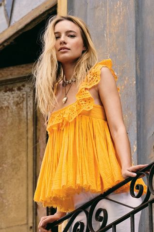 50923fb856 FP One Garden Party Eyelet Top in 2019 | Yellow | Eyelet top, Boho ...