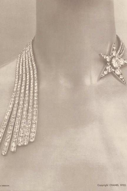 """1932: Bijoux de Diamants Exhibit The Comète necklace created by Coco Chanel in 1932 for her """"Bijoux de Diamants"""" exhibition. The 80th anniversary collection plays hommage to many of the same motifs which inspired Chanel, including stars, comets, and moons."""