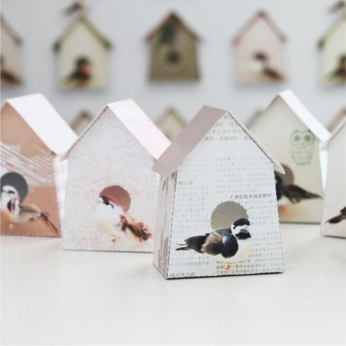 6 papieren vogelhuisjes / 6 paper bird houses