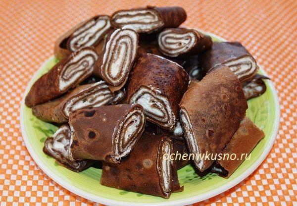 Кофейно-шоколадные блинчики с творожной начинкой | ГОТОВИМ ВКУСНО И ПО-ДОМАШНЕМУ